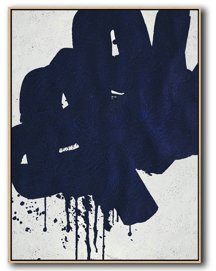 Hand Painted Extra Large Abstract Painting,Buy Hand Painted Navy Blue Abstract Painting Online,Contemporary Art Wall Decor #K2M6